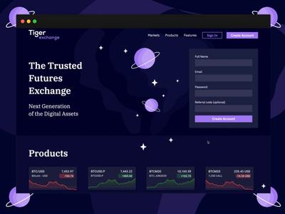 Tiger Exchange   Product Website gradient illustration crypto violet product page product design web website design