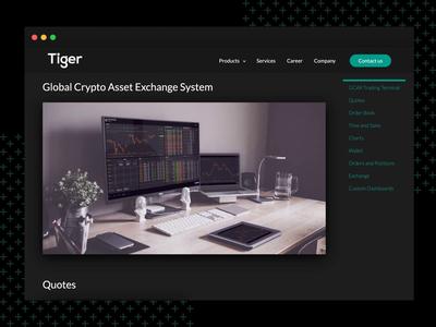 Tiger LLC   Product Case Study crypto crypto exchange dark ui casestudy product website web website design finance trading platform