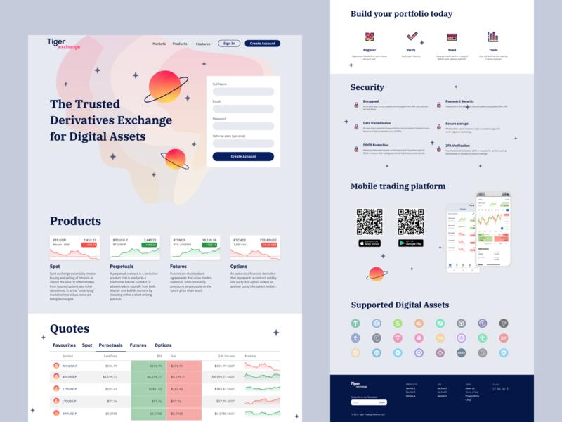 Tiger Exchange   Product Website Light Scheme trading crypto exchange design illustration icons landing page web web design light scheme
