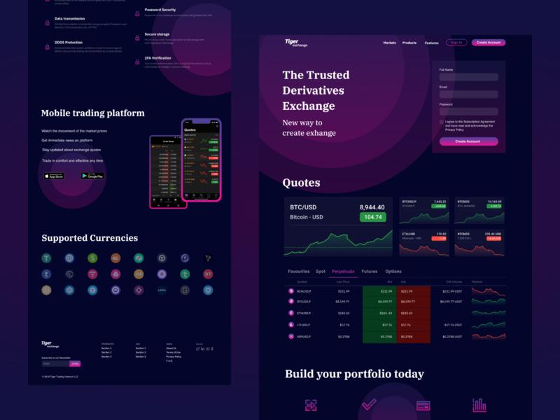 Tiger Exchange   Dark Violet Scheme ui dark ui dark violet website design web crypto exchange trading platform landing page violet design