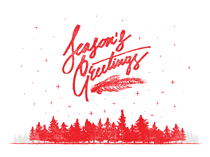 Seasons Greetings stars snow forest trees holiday christmas greeting card seasons greetings hand lettering