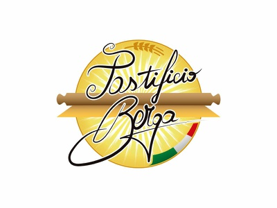 Pastificio Berga - logo design calligraph typography vector logo design colors palette branding