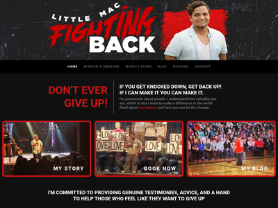WIP - Little Mac Fighting Back speaker speaking branding website design