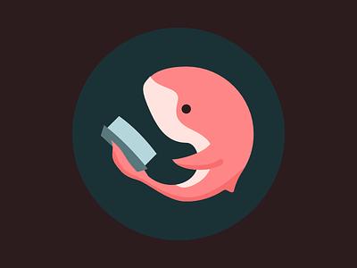 A Whale Reads Logo book cute pink whale logo
