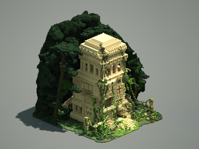 Ancient Temple 02 forest temple voxel