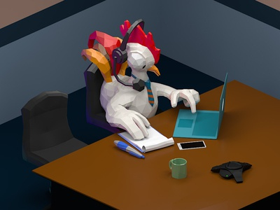 Ad design for a conference app conference computer chicken 3d art low poly