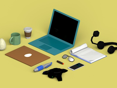 3D low poly assets 3d assets coffee laptop lowpoly