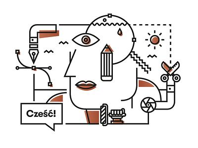 Cześć! Hello! 您好! copper interior design vector tool wall painting creogram hello eye art design illustration