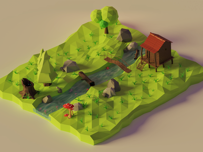Mesmerizing Forest #2 dribbble fantasy render diorama green forest house forest 3d blender 3d blender isometric low poly lowpolyart 3d illustration 3d modeling