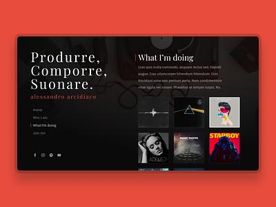 Music producer website (1/2) - UI website concept webdesign realistic dailyui responsive desktop copy musicians website cv producer musician music sketch branding ux ui uxui design