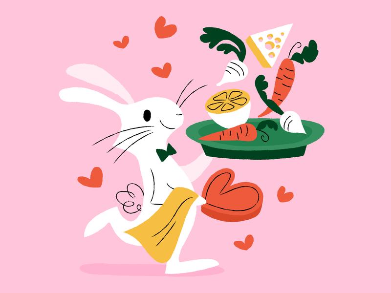 Chef Valentine's illustrations pink bunny veggies dinner love illustration