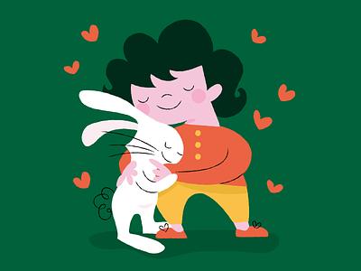 Happy Valentine's Day! friendship children buns hugs valentine love illustration