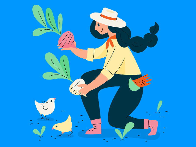 Farm lady gardening turnips eggs chicks farm illustration