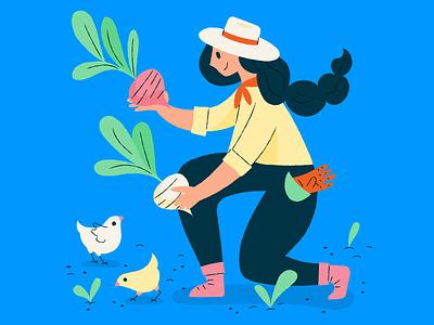Farm lady gardening turnips eggs chicks farm illustration