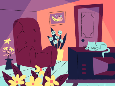 Don't forget to go outside! snoozing cat cat sitting inside all day flowers television tv indoors illustration