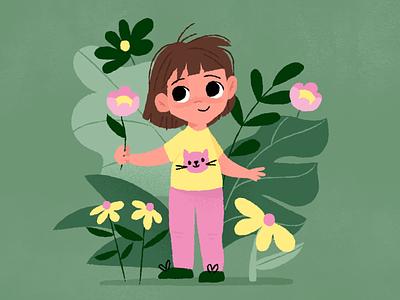 Portrait of Violet kids flowers my neice violet portrait illustration
