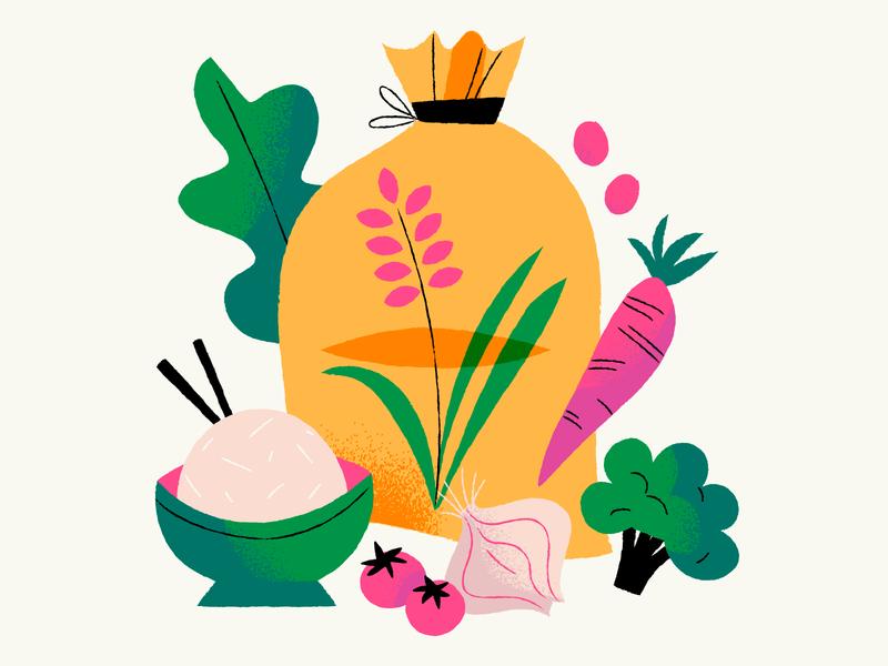 Rice is my comfort food rice bag vegetables veggies food rice illustration