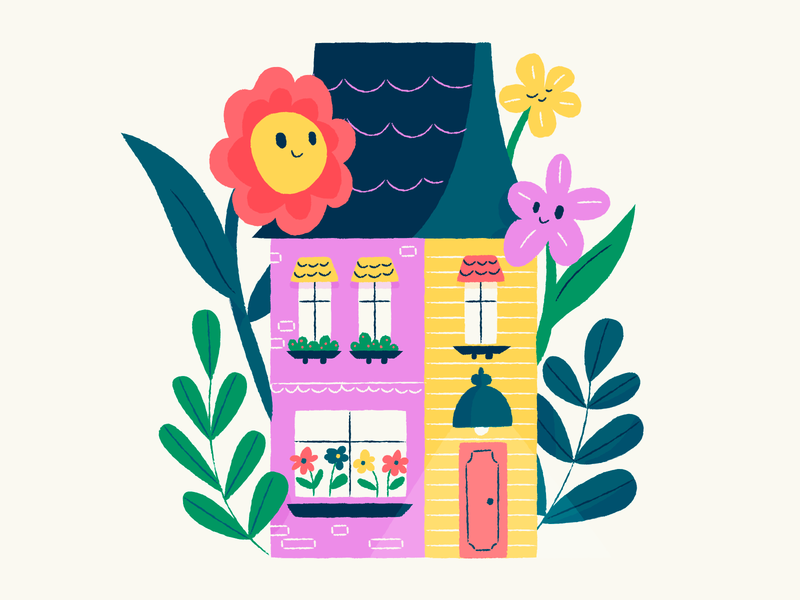 Stay at Home Series 1 red rellow pink bright house flowers stay at home illustration