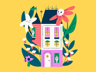 Stay at Home Series 2 red bright pink yellow faces on things house flowers stay at home houses illustration