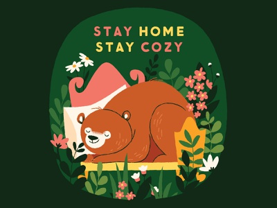 EraseCOVID stay cozy stay home green hibernating bears cards psa erasecovid illustration