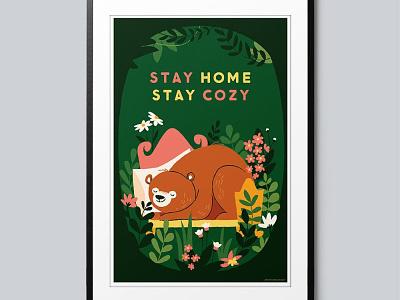 EraseCOVID stay cozy stay home green hibernating bears cards psa erasecovid illustration