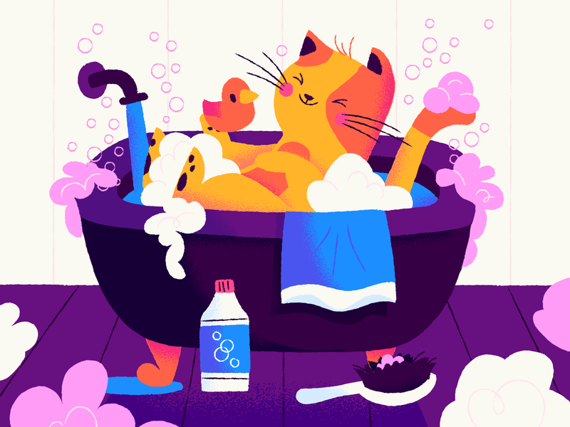 Soaps and suds illustrator suds cat kitty bath soap illustration