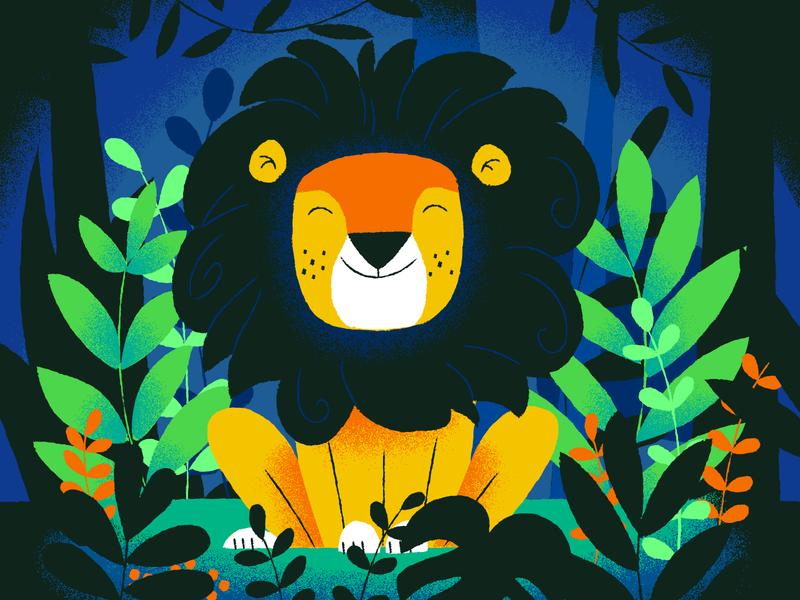 Happy Lion Academy blue green jungle lion illustration
