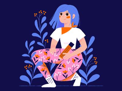 Monday Monday illustrations pencil purple fauna flora socks illustration