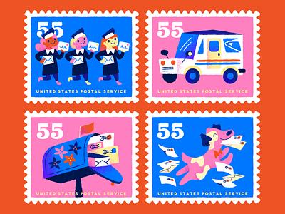 Shoutout to the USPS envelopes letters dog mail truck mail postal workers postal service usps illustration