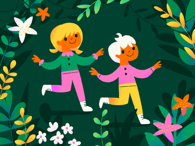 Happy Earth Day, kids! nature earth kids flowers earth day illustration