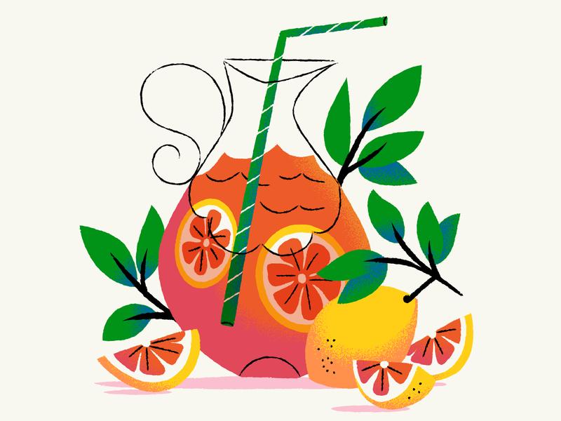 Lemonade pitcher drinks summer lemons lemonade illustration