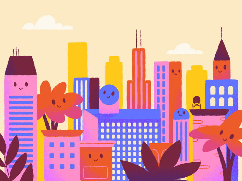 """What makes an office building """"healthy."""" yellow red pink healthy office buildings illustration"""