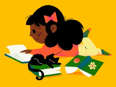Weekend Reading illustrations books cat kids reading weekend illustration
