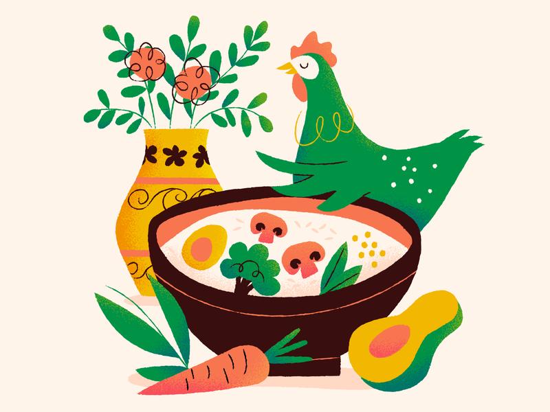 Comfort Food again chickie egg soy eggs veggies rice comfort food illustration