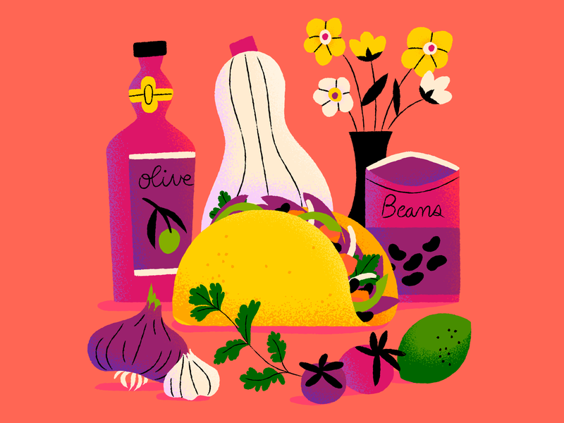 Veggie Tacos yum tacos veggie illustration