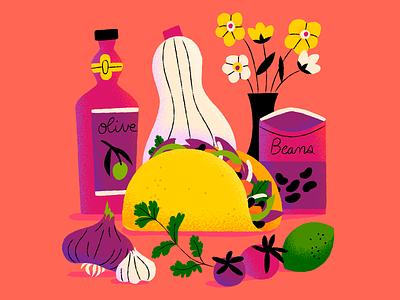 Veggie Tacos yum tacos veggie illustration