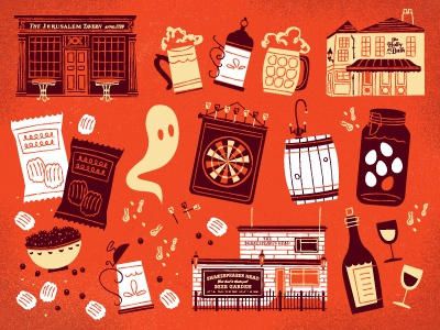 Pubs illustration red ghosts! pubs beer chips
