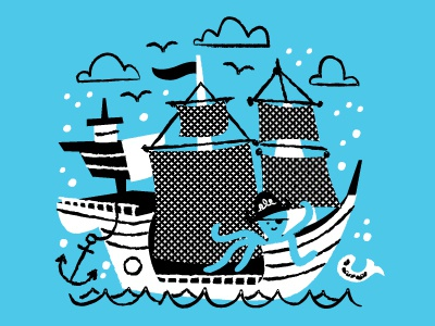 Sea & Snow illustration snow octopuses wearing hats sea ships pirates