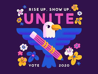 Vote! rise up show up unite eagle vote illustration