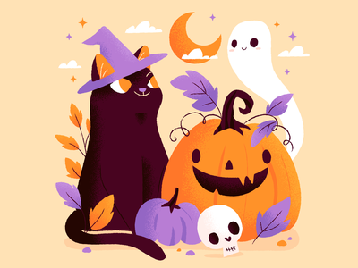 Happy Halloween! spooooooookies purple orange skull pumpkin cats ghosts halloween illustration