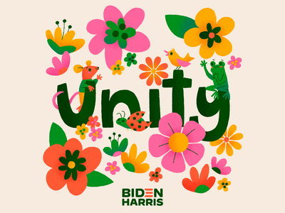Biden by Design tiny frog unity biden harris joe and kamala vote bidenbydesign illustration