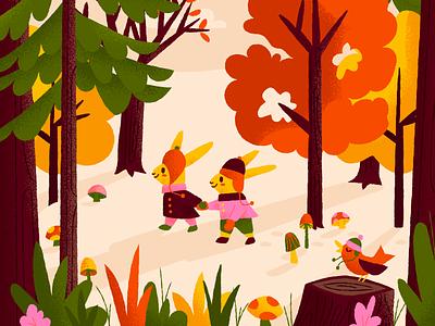 I'm ready for autumn! mushrooms warm bunnies trees leaves autumn illustration