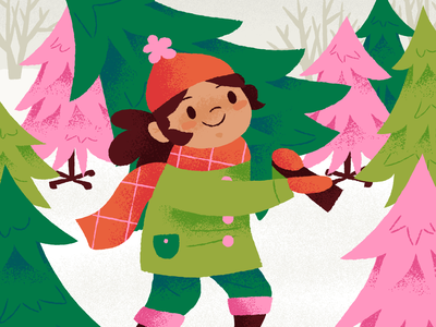 Tree time! yay pine evergreen pine trees tree farm cold scarf winter trees illustration