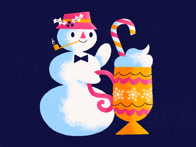 Is the snowman small, or is the mug huge? warm holiday winter candycane hot chocolate mug snowman illustration