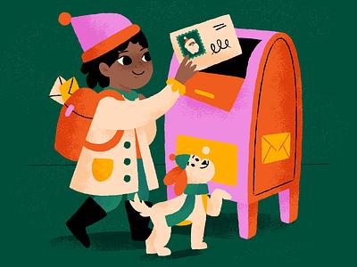 Mailing a note to Santa! santa claus christmas winter dog mailbox note mailing santa illustration