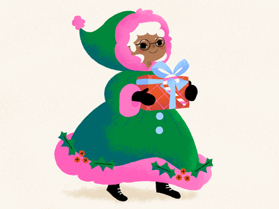 Mrs. Claus is cozy warm cozy gifts christmas santa mrs claus illustration