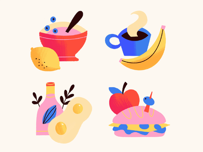 Food stickers icon yogurt eggs sandwich coffee lunch breakfast hangry hungry food stickers illustration