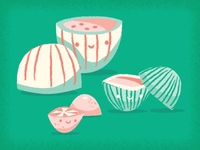 Fruits illustration halves green watermelons grapefruit faces on things