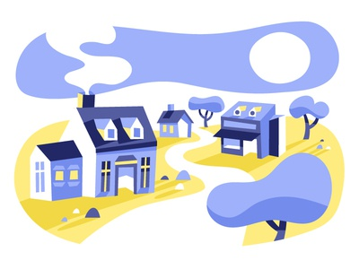 Little Town lots of purple trees city two colors yellow purple illustration