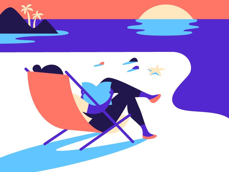 Summer Reading starfish chair beach reading summer illustration